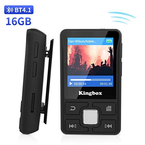Reproductor MP3 16 GB Bluetooth 4.1 con Clip Soporta TF hasta 128GB, S