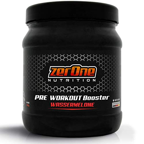 ZerOne Pre Workout Booster Fitness | Maximaler Pump Fokus | Leucin | Isoleucin | Valin 2:1:1 | Energie Kraft Ausdauer | L-Citrulline Maca | Koffein Guarana | Taurin | Wassermelone 500g