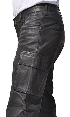 Preisvergleich Produktbild Cargo Lederhose lang Herren aus echtem skipper Nubuk Leder Schwarz ohne Knienaht mit 2 Cargo Pockets in Übergrößen (56, Schwarz)
