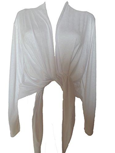10 Farben Damen Bolero Jacke Gr. 44 46 48 50 52 54 (Weiß)