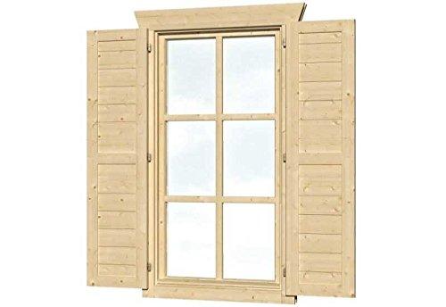 SKAN HOLZ Fensterläden für Einzelfenster Gartenhäuser - Zubehör Natur 2,5x57,5x123,5 cm