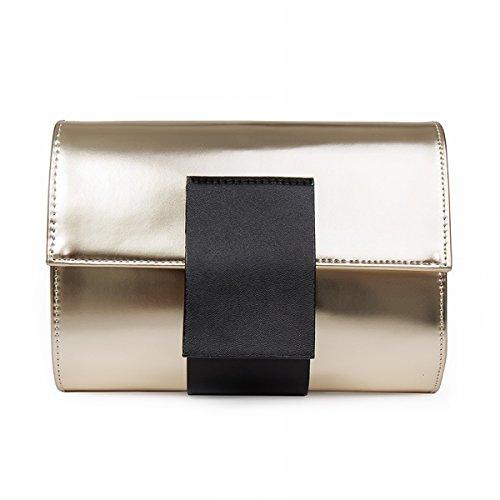 Schlagfarbe Kleine Quadratische Beutel-Schulterbeutel-Art und Weisekette Schiefes Paket Gold