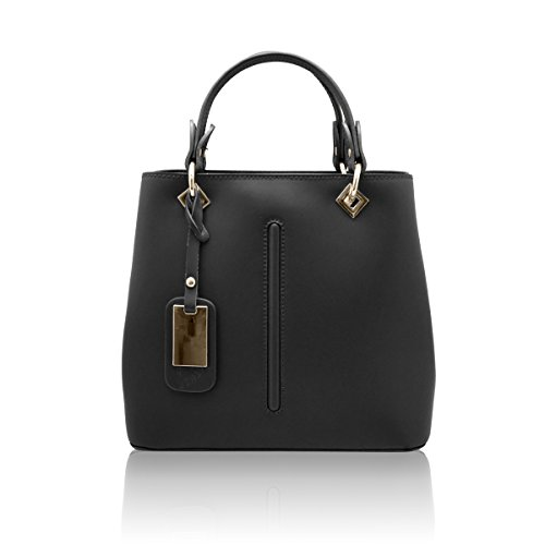 VALENTINA Sac portés main à bandoulière avec couture avant, cuir lisse, fabriqué en Italie noir