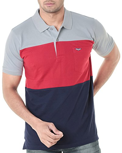 WEXFORD Men's Cotton Polo Neck Half Sleeve T-Shirt (Red, Navy, XXL)