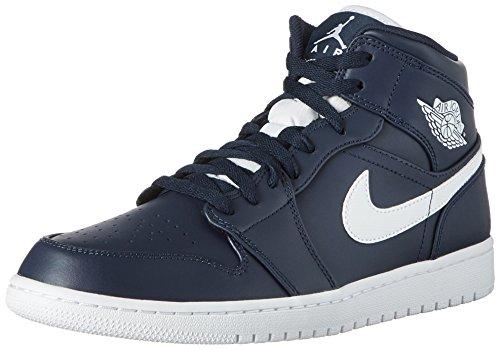Nike Air Jordan 1 Mid, Chaussures de Basketball Homme, Bleu (Obsidian/White/White), 40...