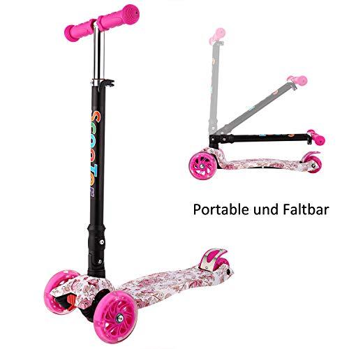 WeSkate Kinderroller Mädchen Kick Roller Kinder- 3 Rad Kinderscooter Kleinkind mit Graffiti Deck Einstellbar Mini Roller Dreirad ab 3-12 Jahre