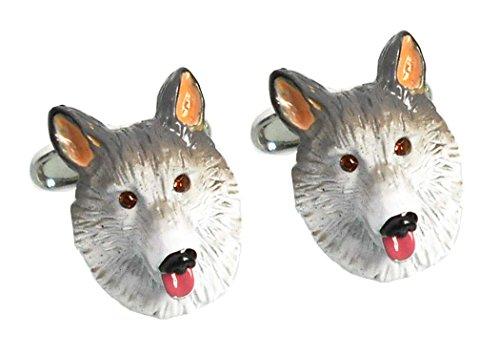 Manschettenknöpfe Hund Kopf farbig gelack inkl. grüner Krokobox
