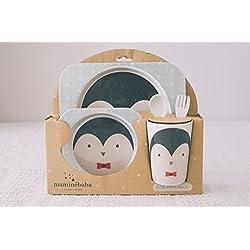 Vajilla bebé Pingüino - Set de 5 piezas y cubertería infatil en melamina y bambú resistente / Apto para lavavajillas