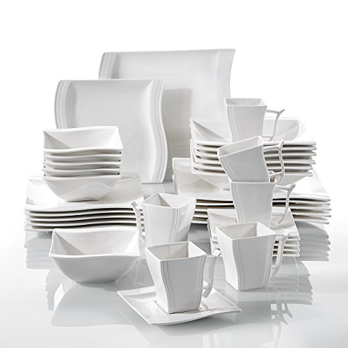Malacasa Flora 36pcs Service de Table Porcelaine 6pcs pour Assiettes Plates, Assiettes à Dessert, Assiettes Creuses, Tasses avec Soucoupes, Bols à Céréales Vaisselles pour 6 Personnes