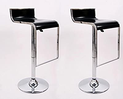 2x Barstools black Plastic Swivel height adjustable - inexpensive UK light store.