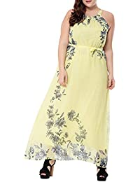 MISSMAO Vestiti Lunghi Eleganti Chiffon a Doppia Vestiti Donna Estivi Donna  Eleganti da Cerimonia Halter Senza d845ea3f40c