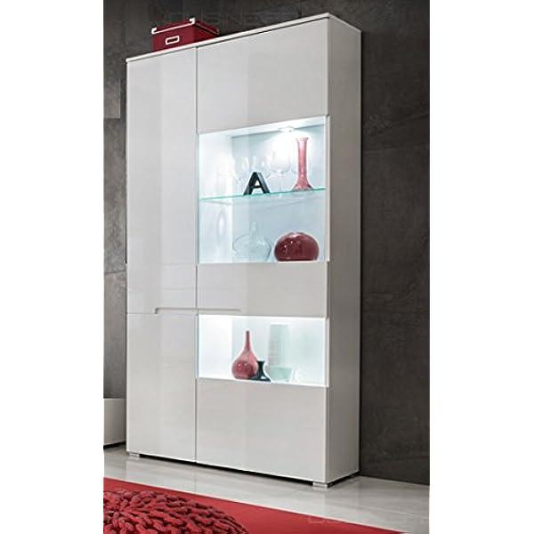 DUSINE.FR Armoire Vitrine LED biblioth/èque 90 cm Commode SENCIA