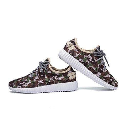 Sneaker Mesh Camouflage Mens / Boys Scarpe da Sport Casual e Autunnali Respirabile e Leggera Brown