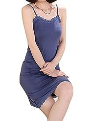 Réglable et modal glisse complet Jupe Robe sans manches pour femme Bleu clair Taille unique