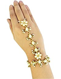 karatcart Gold Plated Kundan Pearl Chain Hathphool for Women