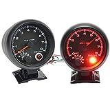 Tacómetro universal negro para coche, 8000 RPM Tacho Rev Contador con luz LED roja, ajuste para 4/6/8 cilindros de gasolina