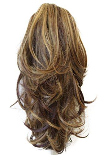 PRETTYSHOP 35cm Clip sur l'extension postiche Pièce de cheveux ondulé Look naturel fibres résistant à la chaleur Mélange brun blond # 33H27 H95
