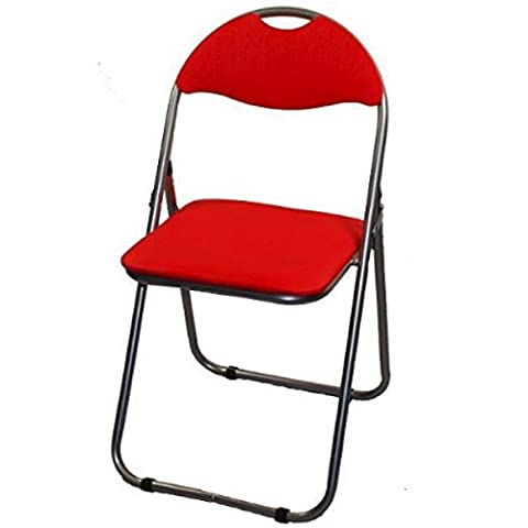 Padded Metal Frame Folding Office, Home, Garden, Computer, Desk Chairs 3 Colours Red, Blue or Black ***Star Buy*** (Red)