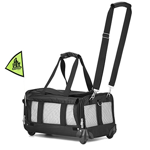 Sherpa on Wheels Pet Carrier, Black (Pet-liner Sherpa)