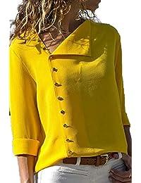 Blusa de Gasa Mujer Camiseta de Mangas Largas del Dobladillo Irregular  Asimétrica Camisa con Botones Sudadera Otoño Invierno Anchos… 37fb58233a4