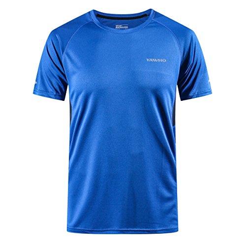 Herren Schnelltrocknendes Atmungsaktives und waschfestes kurzärmeliges Rundhals-Sport-T-Shirt/Laufmantel IM Freien Fitness-Kleidungen für Männer 1-4er Packung (Blue, 2XL)