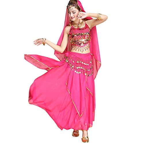 Tianbin danza del ventre orientale indiani danza costumi set sciarpa cintura catena gonna in chiffon (rose#6, taglia unica)