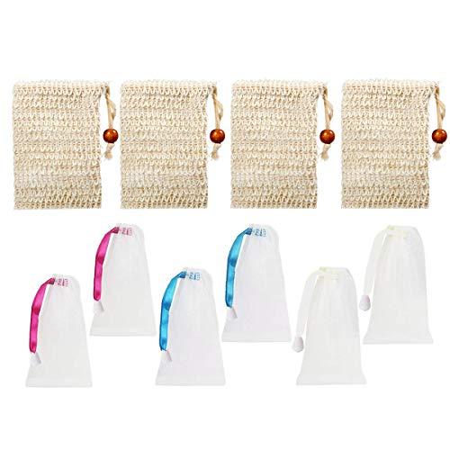 Sisal Seifenbeutel Set,TANGGER 10 Stück Seifensäckchen Sisal,Nylon Seifennetz zum Aufschäumen und Trocknen der Seife,Peeling,Massage(4 Sisal,6 Nylon) -