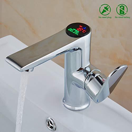 Xinsheng Badezimmer Waschbecken Mischbatterie LED Digital Becken Wasserhahn Wasser Power Becken Mixer Messing Verchromt Gemäßigten Display Wasserhahn -