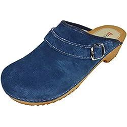 Buxa Zuecos de Ante Unisexo con Suela de Madera y Correa Ajustable. Azul. Talla 36