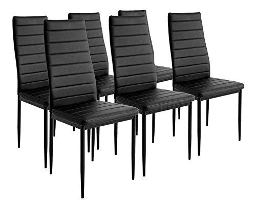 Esstisch Stuhl Set Essgruppe Tischgruppe Esstischgruppe Sitzgruppe Esszimmergarnitur: Schwarz Glas Metall Esstisch 4 Kunstleder Stuhl (Schwarz, Nur 6 Stühle) -
