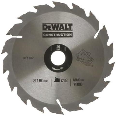 DeWalt DT1142-QZ - Hoja para sierra circular portátil para construcción 160x20mm 18D ATB +20º