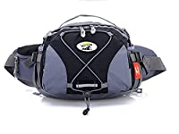LifeWheel Waterproof Fanny Pack with 2 Bottle Holders,3-Zippers and Adjustable Polyweb Waist Belt for Womens Outdoor Sports & Travel Black