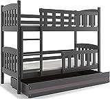 Interbeds Etagenbett Quba 190x80 mit Matratzen, Lattenroste und Schublade, Farbe: WEIβ, GRAU, Erle und Kiefer (grau + grau)
