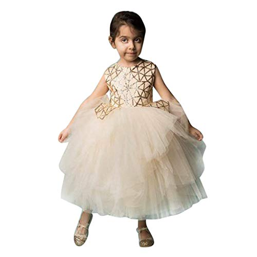 VJGOAL Mädchen Kleider, Kind Baby Geometrie Pailletten Mesh Ärmellos Party Prinzessin Kleid Dresses for Girl ()
