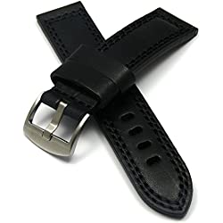 Vintage Style Leather Watch Strap (22mm - Black)