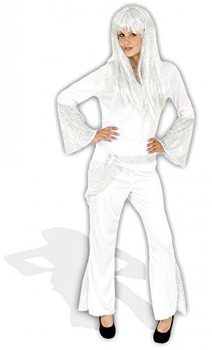 Foxxeo 40111 | 70er Jahre Dancing Queen Kostüm Weiß , Größe:M (Disco Dancing Queen Kostüm)