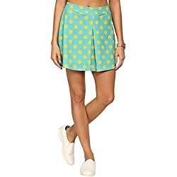 abof Women Turquoise Blue & Yellow Polka Dot Print Skater Skirt