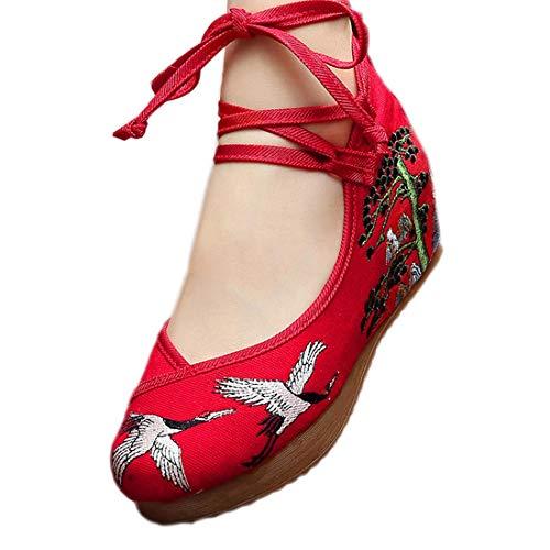 4bdd865ee9 Yy.f YYF Fille Femme Chaussure A Talon Fleur Broderie Chinoise A Talon  Elegante pour