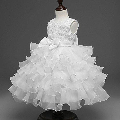❤️Kobay Kinder Baby Mädchen Blumen Geburtstag Hochzeit Brautjungfer-Festzug Prinzessin Abendkleid (70/0.5-1Jahr, Weiß) - 2