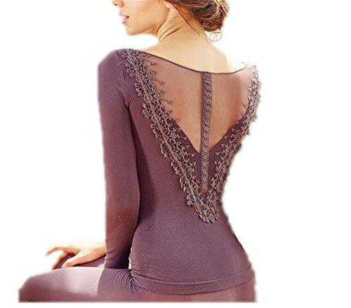Layer Long Johns (hippolo Damen Thermo Unterwäsche Schlafanzug Set Long Sleeve Base Layer T-Shirt Oben und unten (One Size) violett)