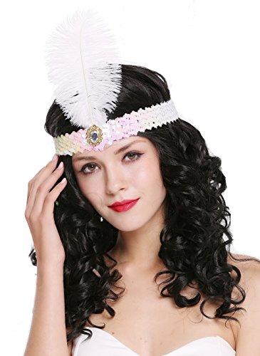 DRESS ME UP - VQ-006-white-pink Haarband Haarreif Stirnband Stirnreif Pailletten weiß & pink Charleston 20er Cabaret Feder
