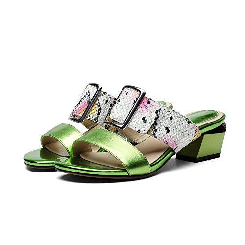 ZYUSHIZ Frau Schuhe Snakeskin mit Dicken mit wilden Leder Sandalen Hausschuhe Grün