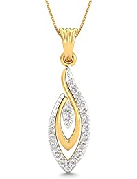 KuberBox 14K Yellow Gold Diamond Pendant Necklace