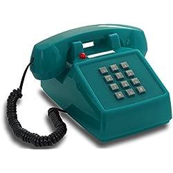 Teléfono fijo retro de teclado de los años 1970 con campana metálica (azul claro)