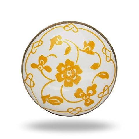 Ceramic Yellow Dance Knob Kitchen Cabinet Cupboard Door Knobs Home Decor Drawer Pull & Handle for Closet Wardrobe Dresser By Trinca-Ferro