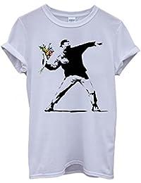 Banksy Flower Thrower Cool Funny Hipster Swag White Femme Homme Men Women Unisex Top T-Shirt