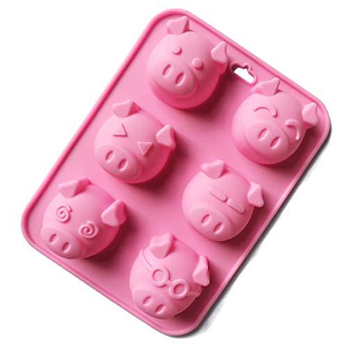 (Kakiyi 6 Cavity Tierkopf geformte DIY Silikon Formen Cartoon-Kuchen-Schokoladen-EIS-Würfel-Süßigkeit-Form)