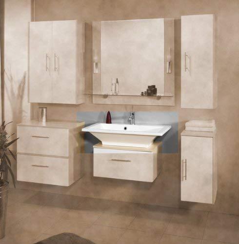 FACKELMANN Waschbecken Domino/Waschtisch aus Gussmarmor/Maße (B x H x T): ca. 80 x 17 x 50 cm/Einbauwaschbecken/hochwertiges Becken fürs Badezimmer und WC/Farbe: Weiß/Breite: 80 cm