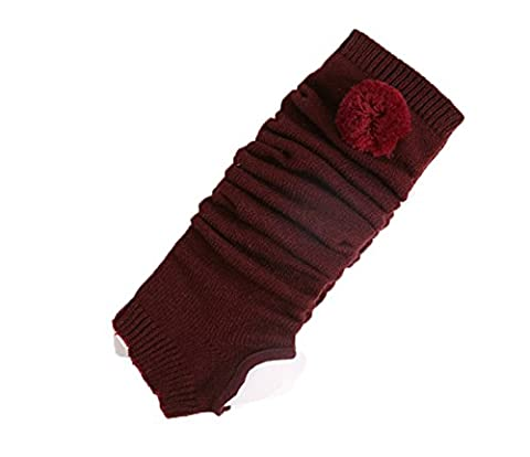 Ouvin Solid Fashion Knee High Cotton Yoga Socks for Women One Size (Claret)