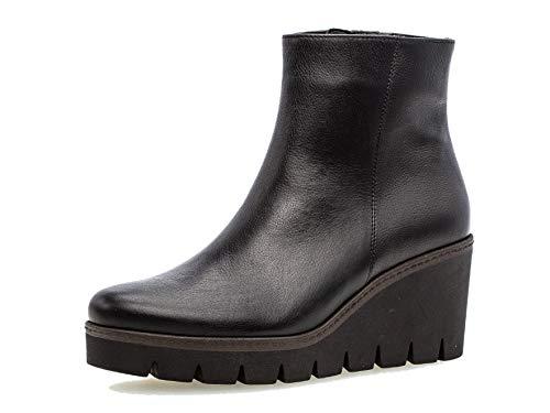 Gabor Damen Stiefelette/Röhrli 34.780, Frauen Keilstiefeletten,Stiefel,Boots,Halbstiefel,Wedge-Bootie,hoch,schwarz (Cognac),42 EU / 8 UK